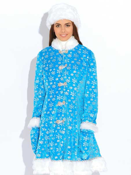 Шуба Снегурочки голубого цвета.