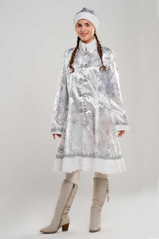 Снегурочка в Белом костюме в полный рост.