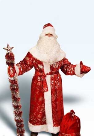 Дедушка Мороз с посохом и мешком подарков.