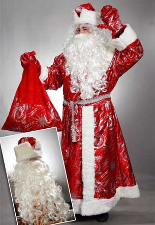 Костюм Деда Мороза с узорами с пышной бородой.
